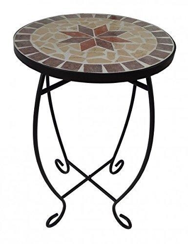 Gravidus Mosaik Blumenhocker Tisch Beistelltisch rund aus Metall