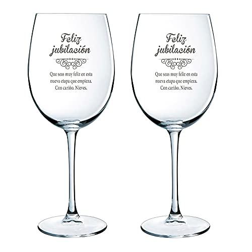 Calledelregalo Regalo de jubilación Personalizado: Copas de Vino grabadas con el...