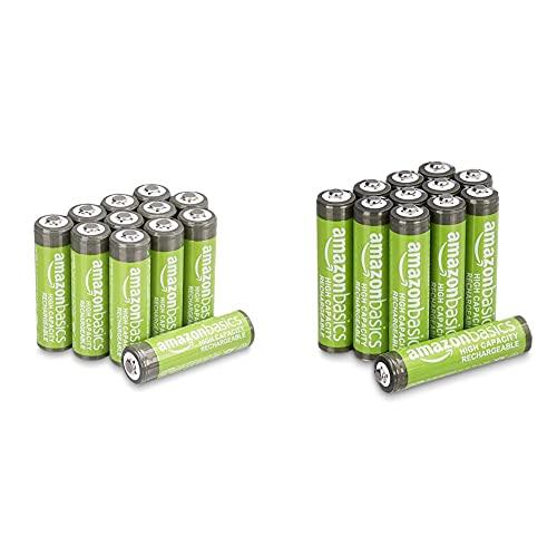 Oferta de Amazon Basics AAA High-Capacity Rechargeable Batteries 850mAh (12-Pack) + Amazon Basics - Pilas AA Recargables de Alta Capacidad, 2400 mAh (Paquete de 12)