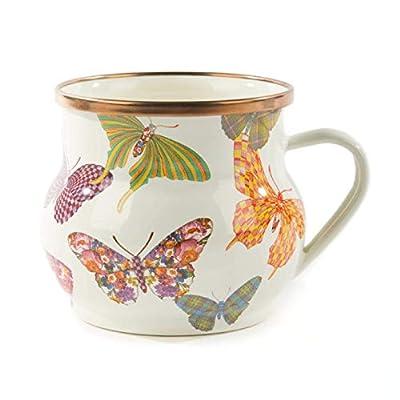 MacKenzie-Childs Butterfly Garden Teacup, Enamel Coffee Mug, White