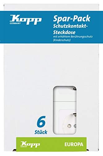 Kopp Europa contactdoos 1-voudig voor het huishouden, 250V (16A), IP20, geaard stopcontact, eenvoudige wandmontage, arctisch wit, 113613087