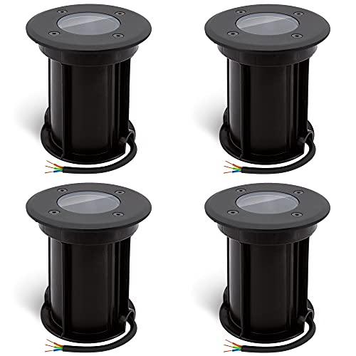 linovum 4er Set BORU Bodeneinbaustrahler schwarz Aussen GU10 Fassung (wechselbar) - Bodenspots rund IP67 befahrbar & kratzfest