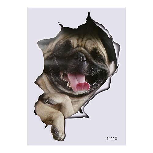 Tarente Animal Wall Stickers 3D Asientos Cuarto de baño WC Vinilo de la Etiqueta Impermeable Perro a casa Decoración # 2