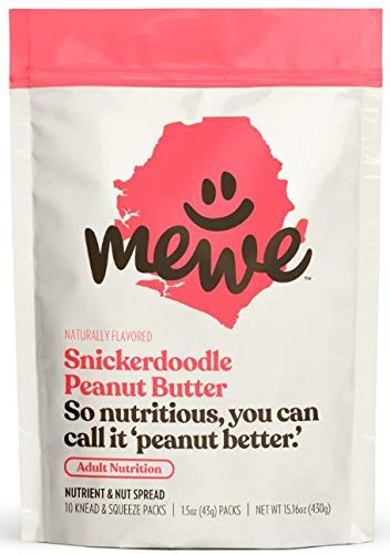 MeWe Adult Nutrition | Healthy Peanut Butter Snacks, Snickerdoodle | Meal Supplement Food (10-count)