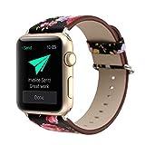 KKSY Bracelet de Montre Matière de Cuir Petite Texture Florale pour Apple Watch 1 série 2 série 3 série 4 iwatch (78177543),A,44/42MM