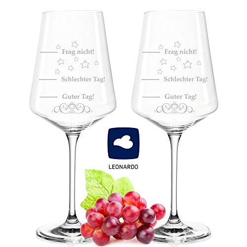 Leonardo Puccini Weingläser - Schlechter Tag Guter Tag - Frag nicht! - Zwei Gläser 750ml - Geburtstagsgeschenk - Lustiges Geschenk - Originelles Geschenk