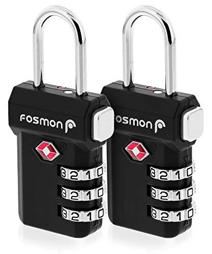 Fosmon open waarschuwingsindicator TSA-goedgekeurde 3-cijferige bagagevergrendeling Eén maat 2 stuks (zwart).