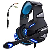 Gaming Headset, PS4 Headset PC mit Mikrofon Noise Cancelling Over Ear Gaming Kopfhörer, Stereo Sound Xbox One Headset mit LED-Licht 3.5mm für Laptop Playstation 4 Tablet Switch Cell Phones