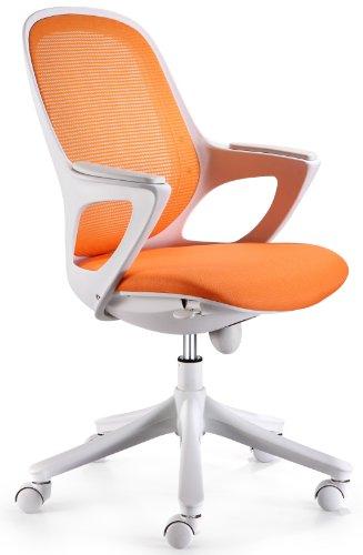 AMSTYLE MAGLO Bürostuhl Orange / Weiß mit WinTEX Stoff Bezug, Drehstuhl bis 120 kg