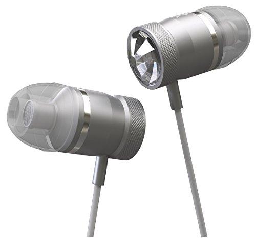 Bluetooth headset met Swarovski kristallen - in-ears met sterke bas - draadloze Bluetooth koptelefoon met microfoon - voor smartphones en MP3-speler - zilver