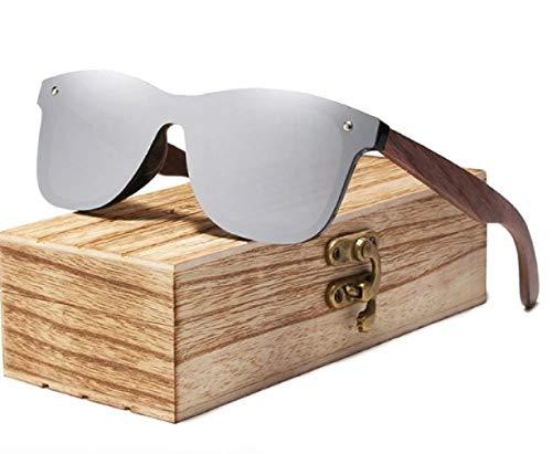 Kingseven, occhiali da sole polarizzati in legno per uomo e donna, protezione UV, montatura in legno di noce, Argento