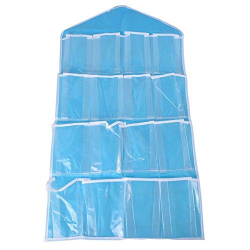 QX Bleu/80 x 42 cm/16 Grilles/Porte après/Murale à Suspendre/Sac de Rangement Bijoux Multicouche débris Sac de Collecte