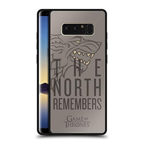Head Case Designs Officially Licensed HBO Game of Thrones Stark Season 8 for The Throne Art Black Hybrid Glass Back Case Compatible with Samsung Galaxy Note8 / Note 8