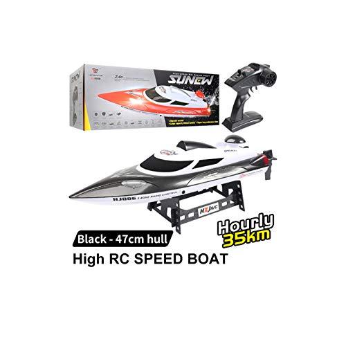 HONGXUNJIE Ferngesteuerte Boote für Pools und Seen - RC-Rennboot 2,4 GHz, hohe Geschwindigkeit, 35 km/h, 180-Grad-Auto-Flip-Recovery (200 m, 15 bis 20 min) (Schwarz)