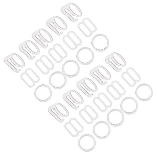 Versteller Bikini & BH -Zubehör zur Reparatur Ringe Haken Slider - Weiß, 1 cm