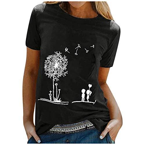 ReooLy Women T-Shirt'Casual Dandelion Printing Shirt Short Sleeves O-Neck Loose Blouse Tops(Black,Small)