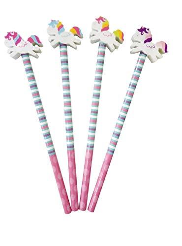 1x Bleistifte * EINHORN * mit Radiergummi für Schule und Kindergarten // in zufällig ausgewählten Farben // Stift Zeichnen Schreiben Kind Unicorn