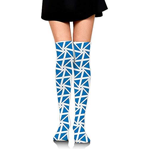 Voorraad Schotland Vlag Weave Casual Hardlopen Lange Sokken Knie Hoge Sokken Vrouwen Cosplay Boot Voorraad Compressie Sokken Jurk Mode Comfortabele Party Kleurrijke Zacht