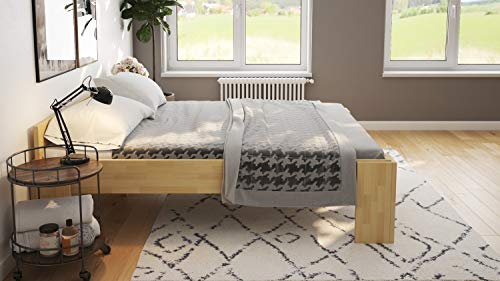 Echtholzbett 200x200 Doppelbett Buche massiv für schwere Personen - (3045)