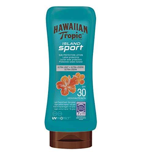 Hawaiian Tropic Lotion Island Sport SPF 30 - Crema Solar Deportiva en Spray de Vaporización Continua de Protección Alta, Textura Ultraligera para el Deporte, Loción de 180 ml
