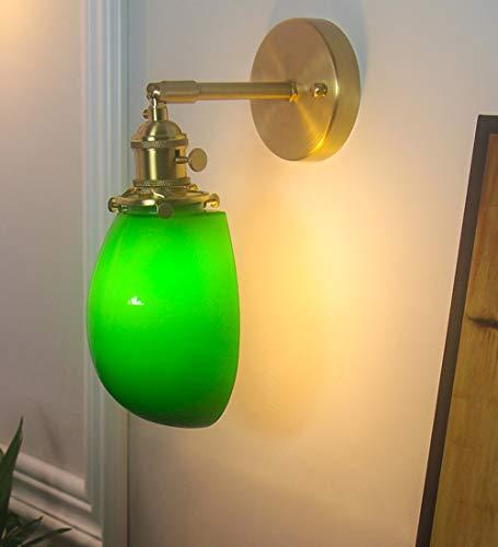 DROMEZ Lampara de pared Dormitorio Vintage, Apliques de pared Ajustable Retro de Latón, Pantalla de Cristal Verde, Luz de pared Interior con Interruptor, para Sala de Estar Cafetería Bar,C