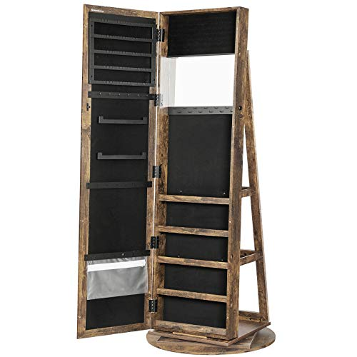 SONGMICS 360° Swivel Jewelry Cabinet, High Full Length Mirror, Lockable Jewelry Armoire, with...