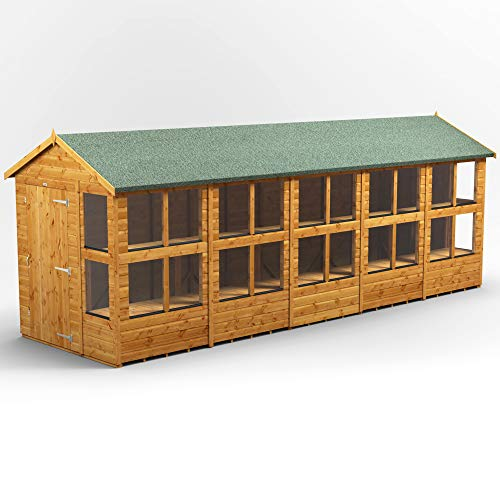 POWER | 20x6 Apex Potting Shed | 20 x 6 Wooden Garden Greenhouse Sheds | Super Fast Delivery