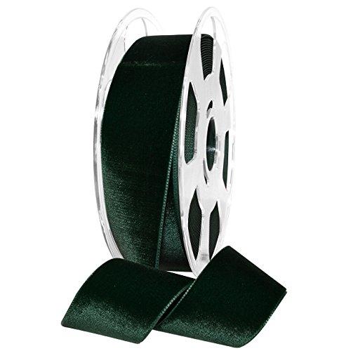 """Morex Ribbon Nylvalour Velvet Ribbon, Nylon, 1 1/2 inches by 11 Yards, Hunter Green, Item 01240/10-621, 1.5"""" x 11 Yd"""
