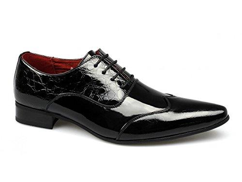 Shuperb FELINI ZX Herren Schuhe schuppiger Patent Kunstleder, Schwarz, Schwarz - Patent Black - Größe: 42.5
