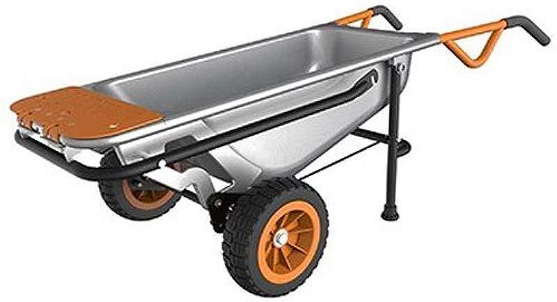WORX WG050 Aerocart 8 In 1 All Purpose Wheelbarrow Yard Cart Dolly 18 X 12 X 42 Orange Black And Silver