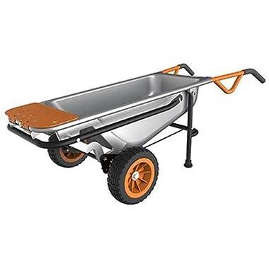 WORX WG050 Aerocart 8-in-1 All-Purpose Wheel barrow/Yard Cart/Dolly, 18  x 12  x 42 , Orange, Black, and Silver