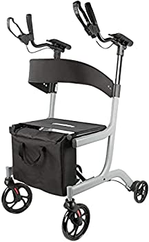 Walker with seat Upright Posture Walker Mobility Rollator – Ergonomic Lightest Weight And Foldable Stand Up Rolling Walking Aid With Comfortable Seat Backrest Padded Armrests And Tote Bag For Senior