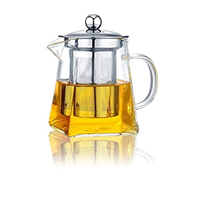 Glass Teapot with Infuser,350ML/11.8OZ Borosilicate Glass Tea Pot with Tea Strainers for Loose Leaf Tea, Microwavable and Stovetop Safe -Square Shape