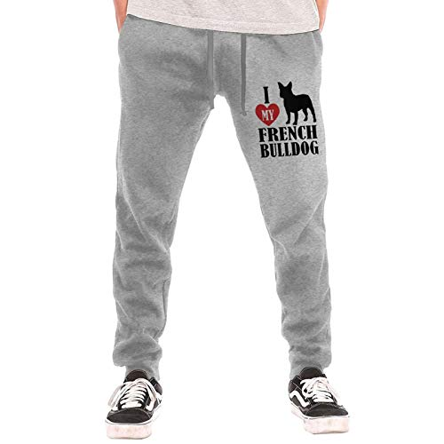 I Love My French Bulldog Men's Jogger Lounge Sleep Sweatpants Pajamas Gray