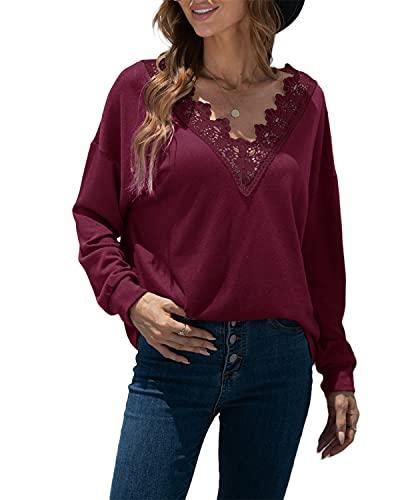 datasy Mujer Camiseta de Manga Larga de Encaje Elegante Sexy Mujeres Blusas Camiseta Suelto Camisa Color Sólido con Cuello en V Blusas Fiesta Rojo M