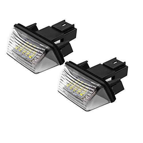 Safego Luz de matrícula LED para Coche Lámpara Número Placa Luces 3014 SMD 6000K Xenón Blanco para 206 207 306 307 308 406 407 5008 Partner etc, 2 Piezas, 1 año de Garantía