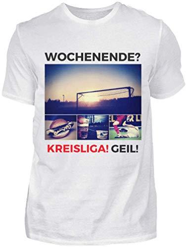 Wochenende? Kreisliga! Geil! - Premium Shirt - Das Kreisliga Shirt für alle Kreisliga Fußballer und Fans (XXL, Weiss)