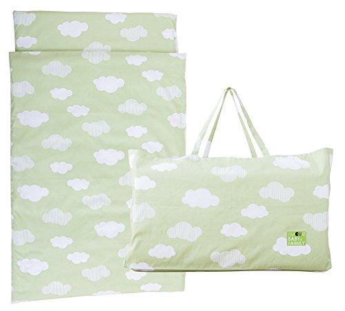 エムール お昼寝布団 セット 5点 洗える 保育園 収納バッグ付き お昼寝 ベビー布団 5点セット 園児用 持ち運べる バッグ付き 雲柄グリーン