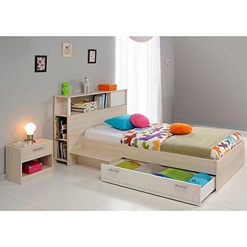 Funktionsbett 90*200 grau inkl. Kopfteil(regal) Anstellregal + Bettkasten + Nachtkommode Kinderbett Jugendbett Jugendliege Bett Jugendzimmer - 2
