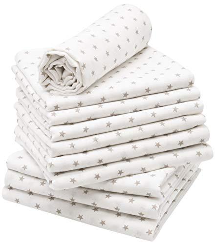 ZOLLNER 10er Set Spucktücher weiß, graue Sterne, 80x80 cm, ohne Geschenkbox
