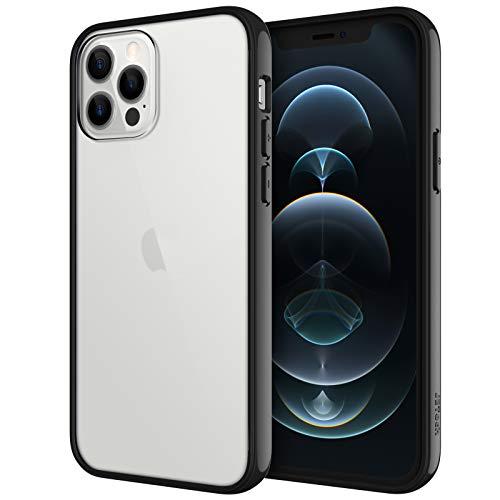 JETech Hülle Kompatibel iPhone 6,1 Zoll (12/12 Pro), Stoßfeste Stoßstange Hülle, Anti-Kratzt Klar Rückseite, Schwarz