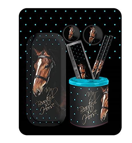 Theonoi Bonito juego de escritura de caballos, compuesto por lápiz, regla, sacapuntas, goma de borrar, etc. Gran regalo para el comienzo del colegio – para rellenar la bolsa escolar.