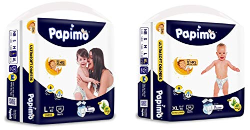 Papimo Baby Pants Diapers with Aloe Vera, Large, 64 Count & Papimo Diapers With Aloe Vera , X-Large, Blue, 56 Count