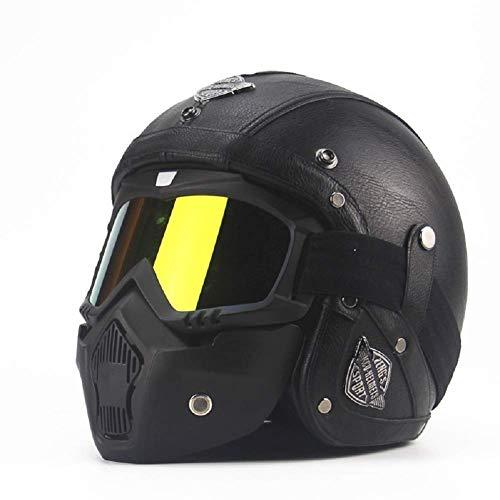 H-O Cascos de Moto Medios Cascos Chopper Casco de Bicicleta Cuero de PU Cara Abierta Casco de Moto Vintage con máscara de Gafas,S