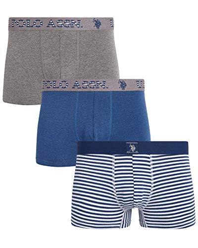 U.S. Polo Assn. Men's Cotton Stretch Trunk Underwear with Comfort Pouch (3 Pack), Grey/Navy Stripes/Blue, Size X-Large