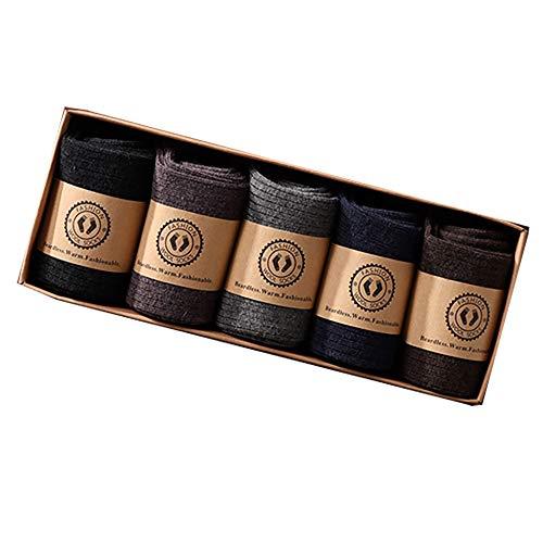 N\C Wintersocken aus Schafwolle, Warm Dick Alpaka Socken, Reine Alpaka-Wollsocken Stricksocken für Damen - 5 Paar,B