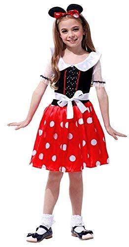 Disfraz de mickey mouse - ratón - disfraces infantiles - halloween - carnaval - minnie mouse - color rojo - niña - talla l - 6-7 años - idea de regalo original minnie mouse