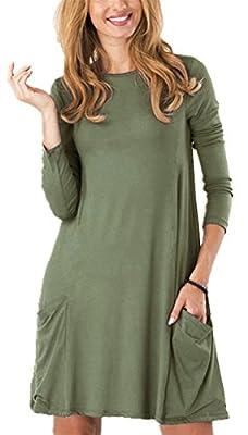 Zero City Women's Casual Pockets Plain Flowy Simple Swing T-Shirt Loose Dress