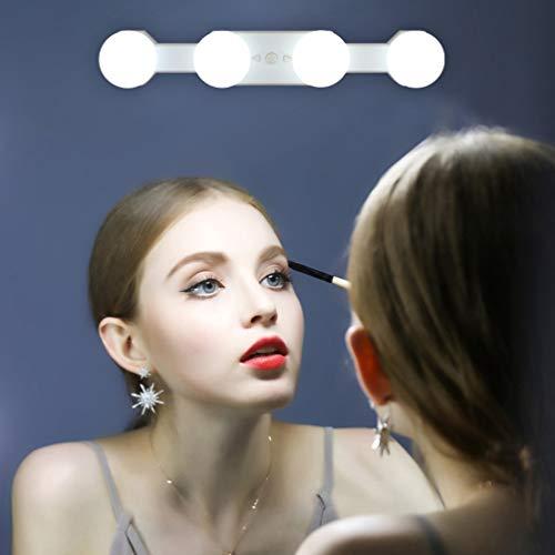 Klighten Led Schminklicht Kabellos Hollywood Spiegelleuchte mit 4 Dimmbar Glühbirne, Batterie/USB Spiegellampe Tragbar Make-up Licht, 3200K-6500K, Farbtemperatur und Helligkeit einstellbar
