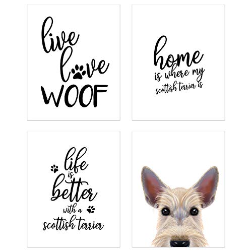 Summit Designs Scottish Terrier Wall Art Décor Prints – Set of 4 (8x10) Unframed Poster Photos – Dog Puppy Quotes